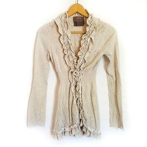 Anthro tan ruffle open knit cardigan sweater S